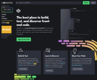 Codepen.io - CodePen - Front End Developer Playground & Code Editor in the Browser