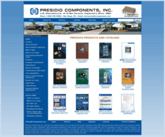 Presidiocomponents.com - Presidio Components, U.S. Manufacturer of Space and Military Quality Ceramic Capacitors for RF, Microwave, High Temperature, Fiberoptic, high frequency, and custom commercial applications