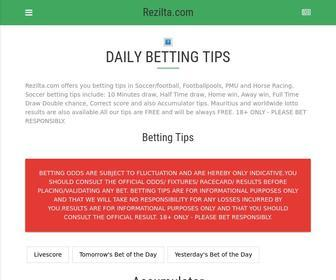 Rezilta.com - Livescore, free betting tips, odds, results for Football, Soccer, Horse Racing and Mauritius loterie Nationale loto results | Rezilta.com