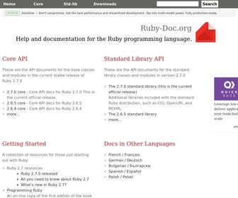 Ruby-doc.org - Ruby-Doc.org: Documenting the Ruby Language